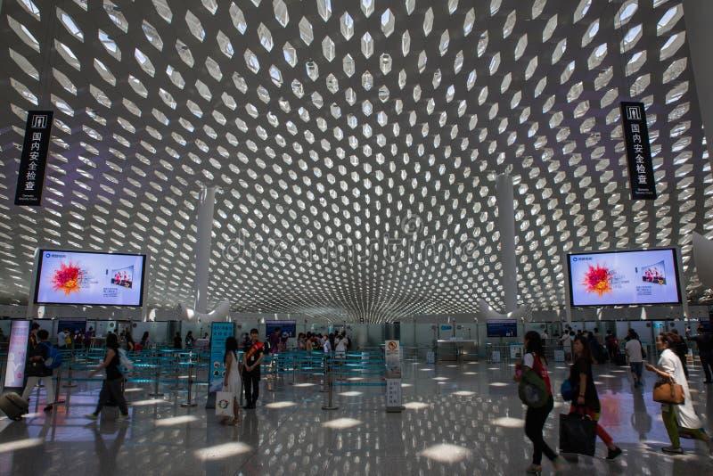 Shenzhen, Chine - 11 septembre 2016 : Aéroport international de Bao'an images libres de droits