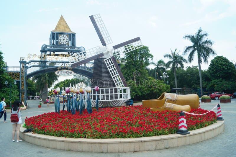 Shenzhen, Chiny: Holandia kwiatu Grodzki Sceniczny teren fotografia royalty free