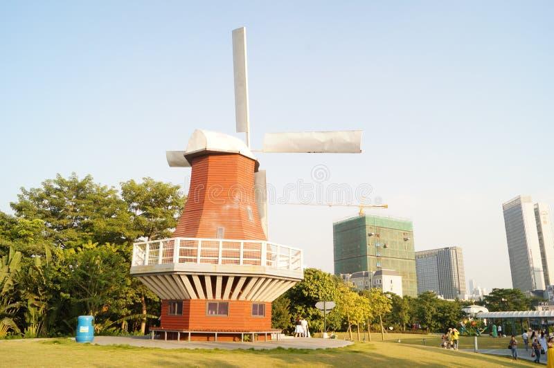 Shenzhen, Chiny: Holandia kwiatu miasteczka sceneria zdjęcie royalty free