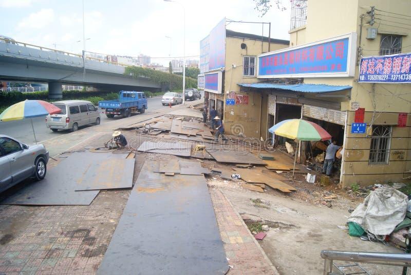Shenzhen, Chiny: Narzędzia przerobowa ulica obrazy royalty free