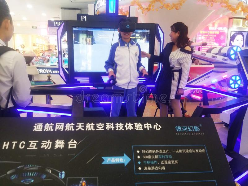 Shenzhen, Cina: attività aerospaziali di esperienza di scienza e tecnologia, attrezzatura di modello dello spazio fotografia stock