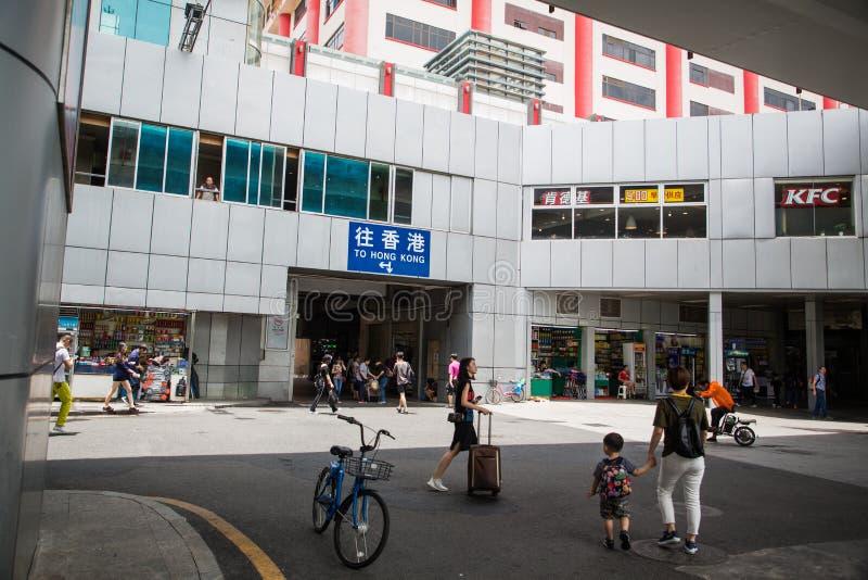 Shenzhen, Cina, il 24 giugno 2016, editoriale: Stazione di Luohu, la m. immagine stock libera da diritti