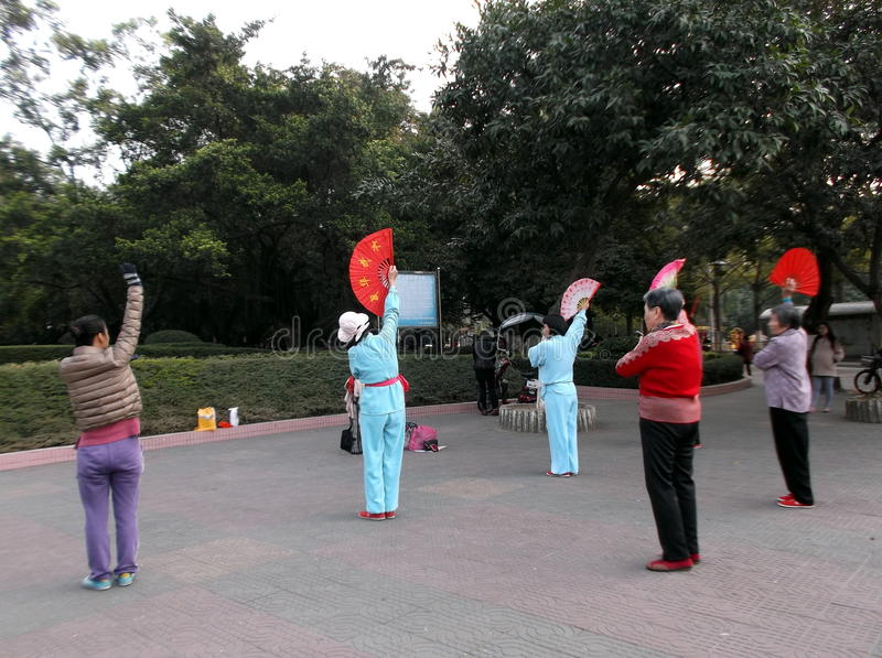 Shenzhen, Cina: le donne più anziane nel ballo quadrato di salto fotografia stock libera da diritti