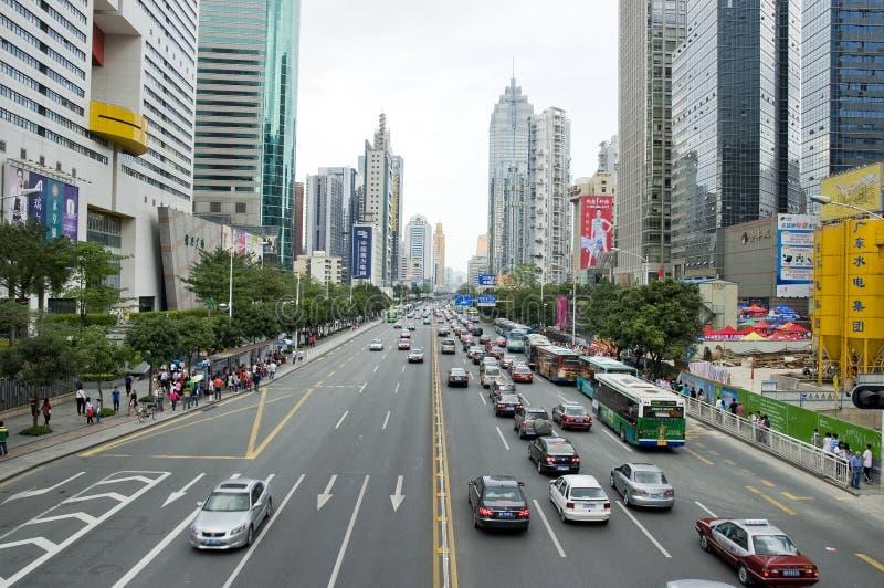 Shenzhen city. Shenzhen (Chinese: 深圳市; pinyin: Shēnzhèn Shì) is a city of sub-provincial administrative status in southern China's stock photo