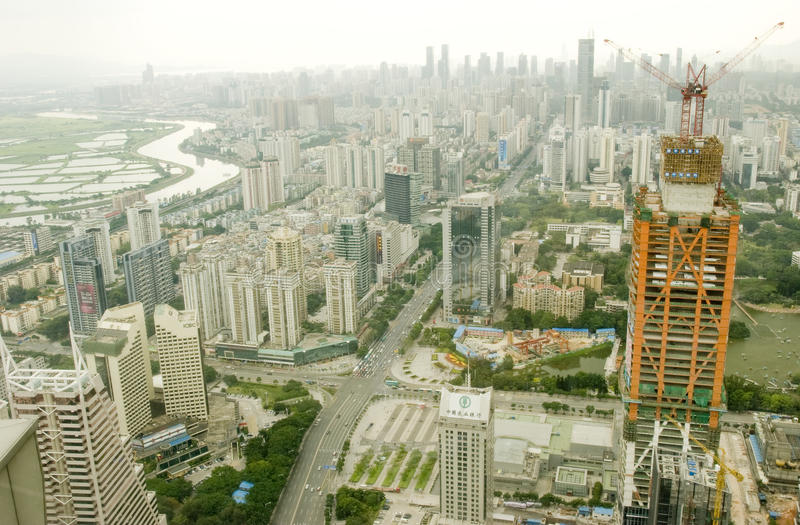 Shenzhen city. Shenzhen (Chinese: pinyin: Shēnzhèn Shì) is a city of sub-provincial administrative status in southern China's Guangdong province stock photos