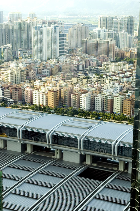 Download Shenzhen city aerial view stock photo. Image of buildings - 7216070