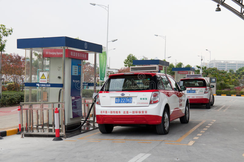 Shenzhen electric car charging stations stock image