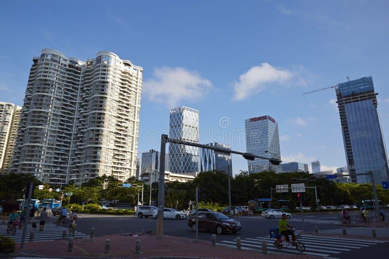 Shenzhen gata i morgon arkivfoto