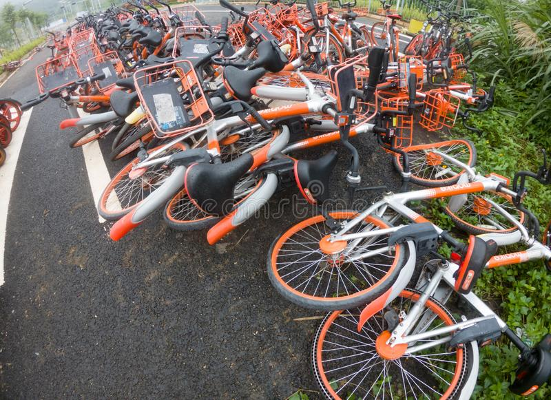 Abandoned shared bikes in China royalty free stock images