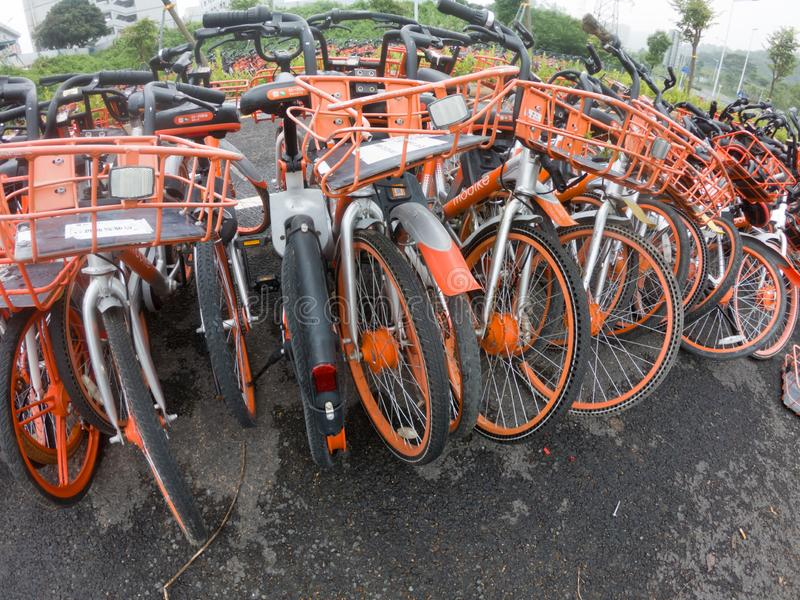 Abandoned shared bikes in China stock photos