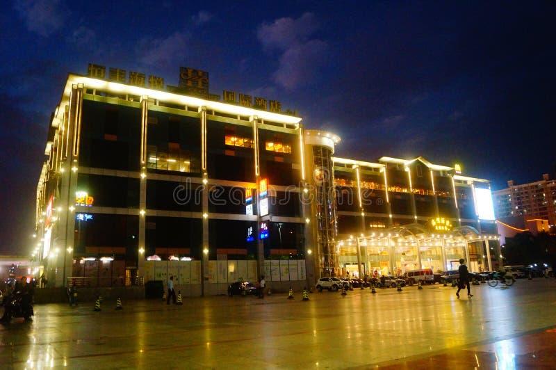 Shenzhen, China: hotel architectural landscape at night. Shenzhen Hengfeng Haiyue Kokusai Hotel night landscape royalty free stock images