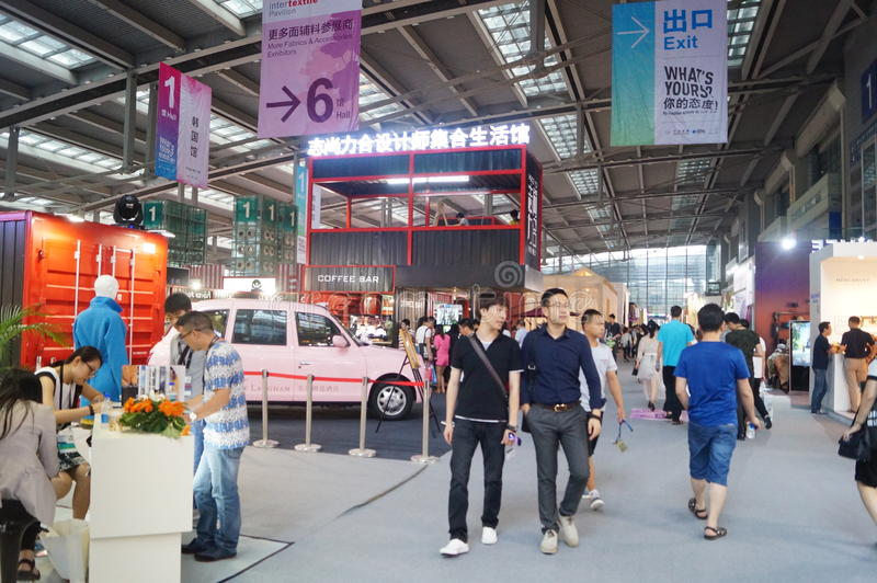 Shenzhen international textile fabrics and Textile Accessories Expo. Shenzhen international textile fabrics and textile accessories exhibition sales, held in stock photography