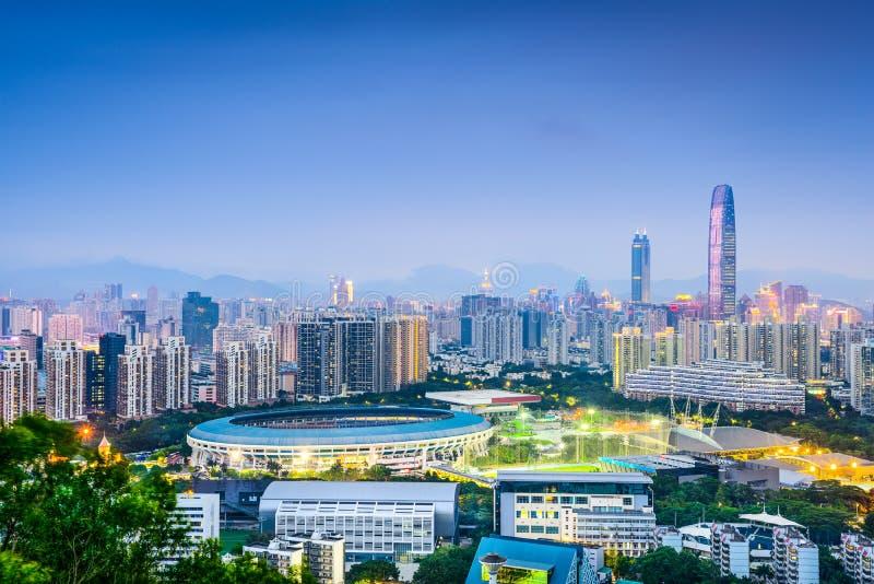 Shenzhen Kina horisont arkivfoton