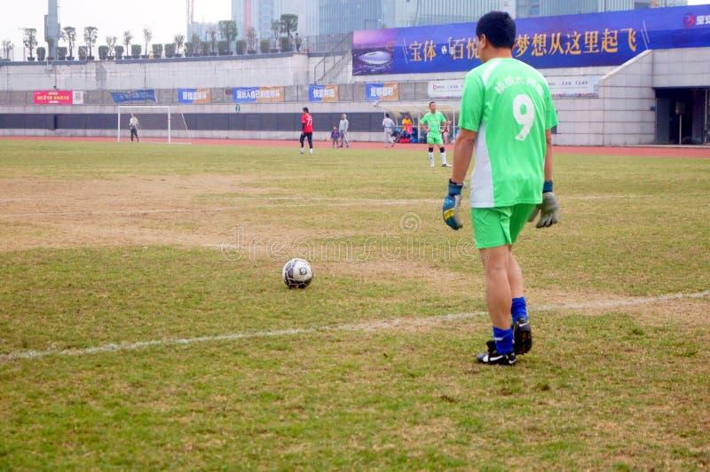 Shenzhen Kina: i den pågående fotbollsmatchen royaltyfri foto