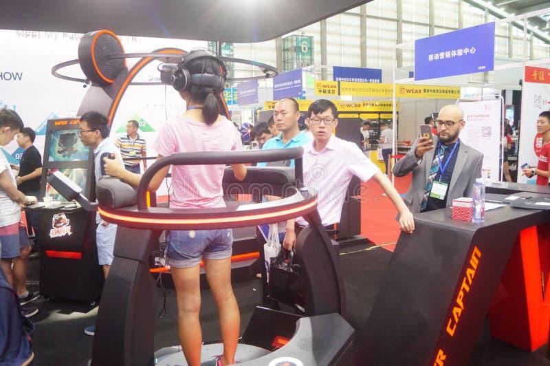 Shenzhen Kina: internationell virtuell verklighet, holographic teknologiutställning royaltyfria foton