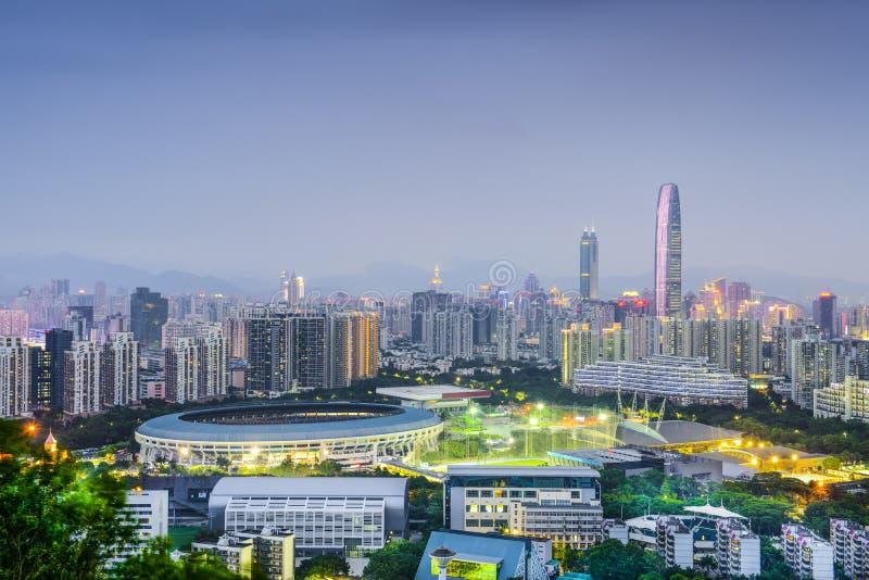 Shenzhen Kina stadshorisont arkivbilder