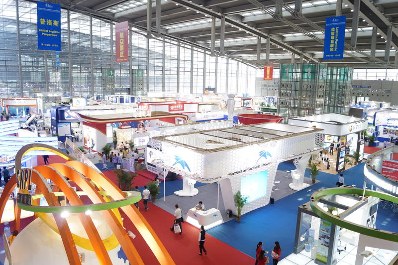Shenzhen Kina: Utställning för internationell logistik royaltyfri bild