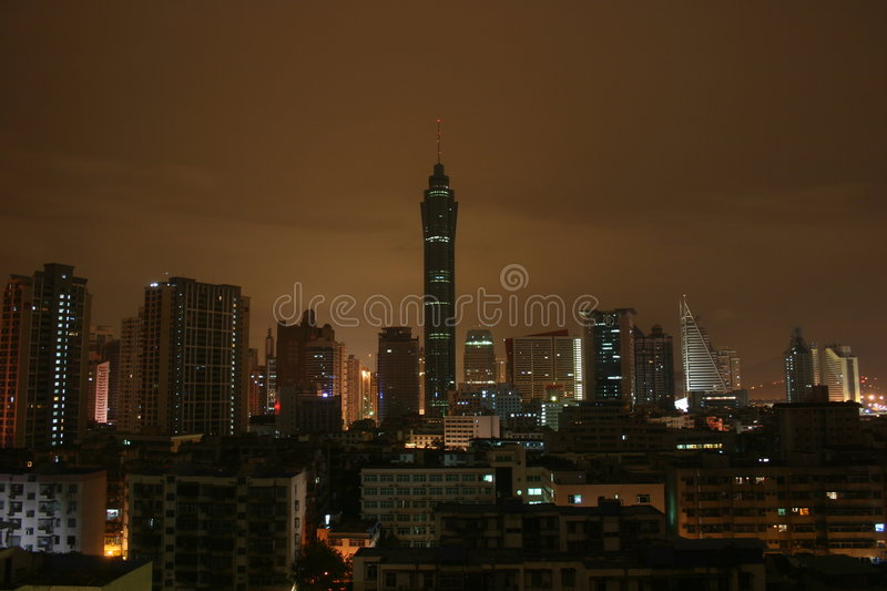 ShenZhen na noite fotos de stock royalty free