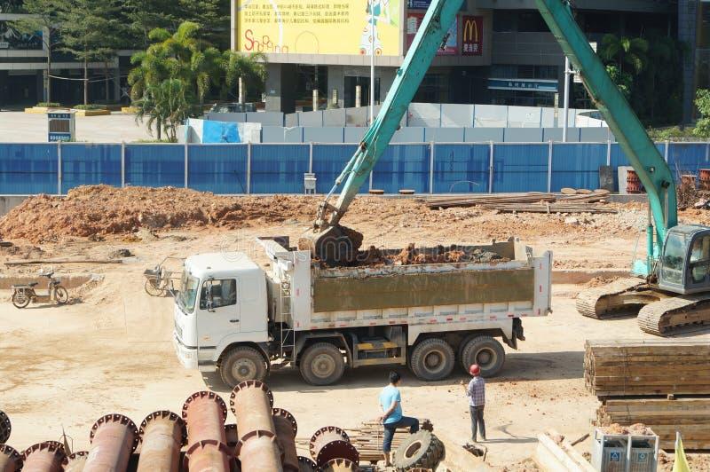Shenzhen porslin: gångtunnelkonstruktionsplats arkivbild
