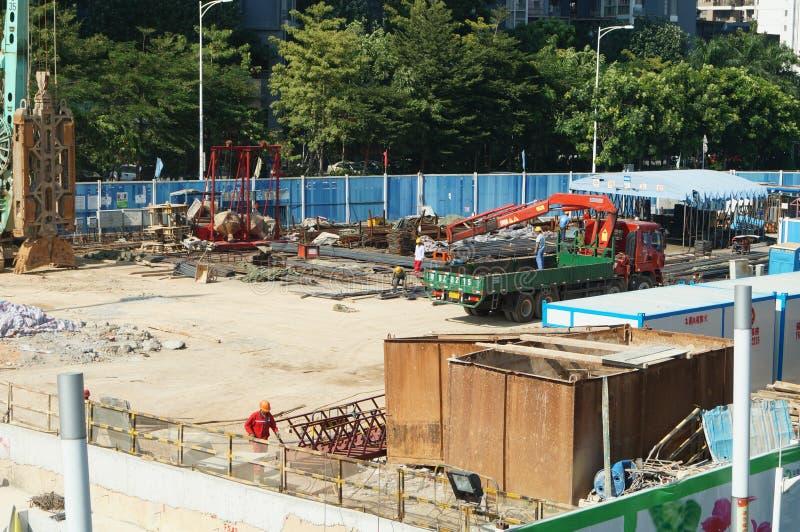 Shenzhen porslin: gångtunnelkonstruktionsplats arkivfoto