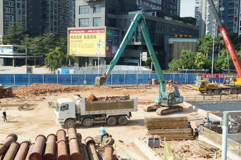 Shenzhen porslin: gångtunnelkonstruktionsplats arkivbilder