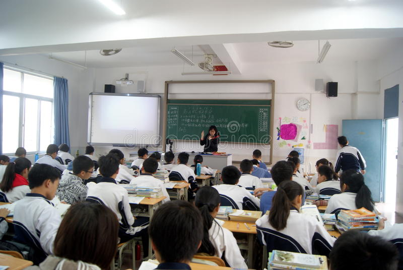 Shenzhen porslin: skolaklassrumundervisning arkivbilder
