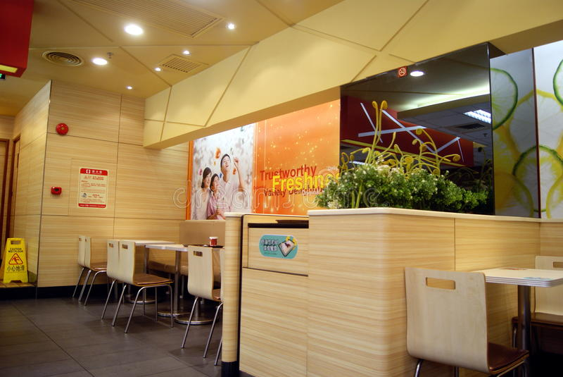 Shenzhen, Porzellan: kfc Restaurantinnenausstattung stockfotografie