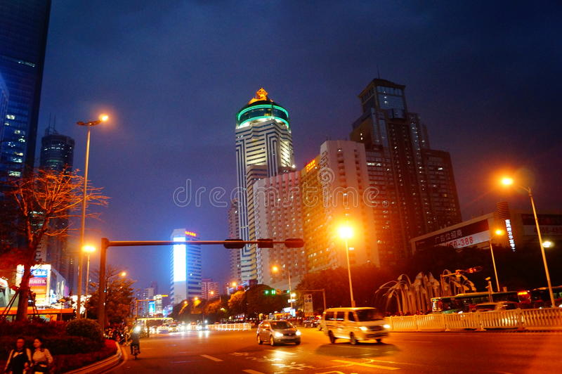 Shenzhen Shennan Road night traffic landscape royalty free stock photography