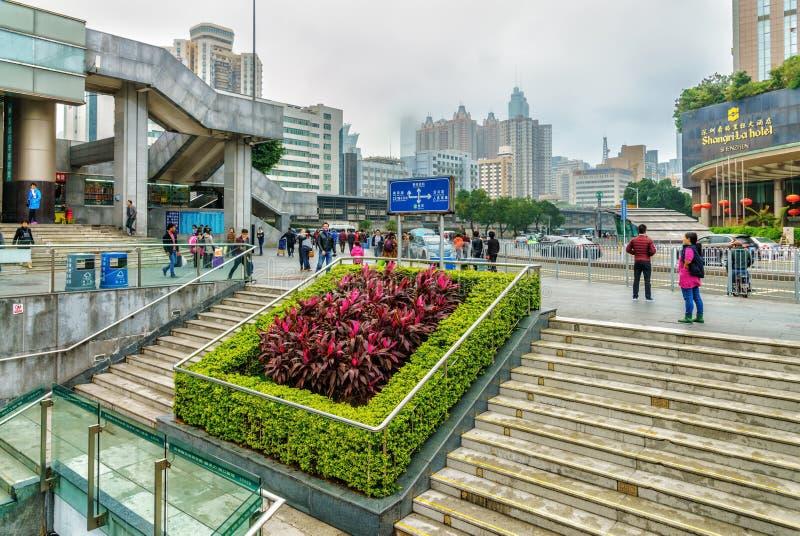 Shenzhen stad i Kina Dagsljuscityscape arkivfoto