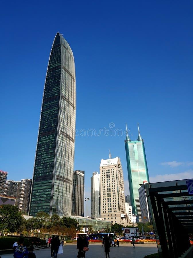Shenzhen stads- arkitekturlandskap, jingji 100 arkivbild