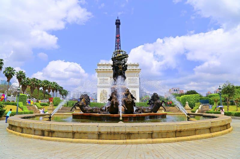 Shenzhenvenster van de wereld: replica van jardin du Luxemburg in Parijs stock afbeelding
