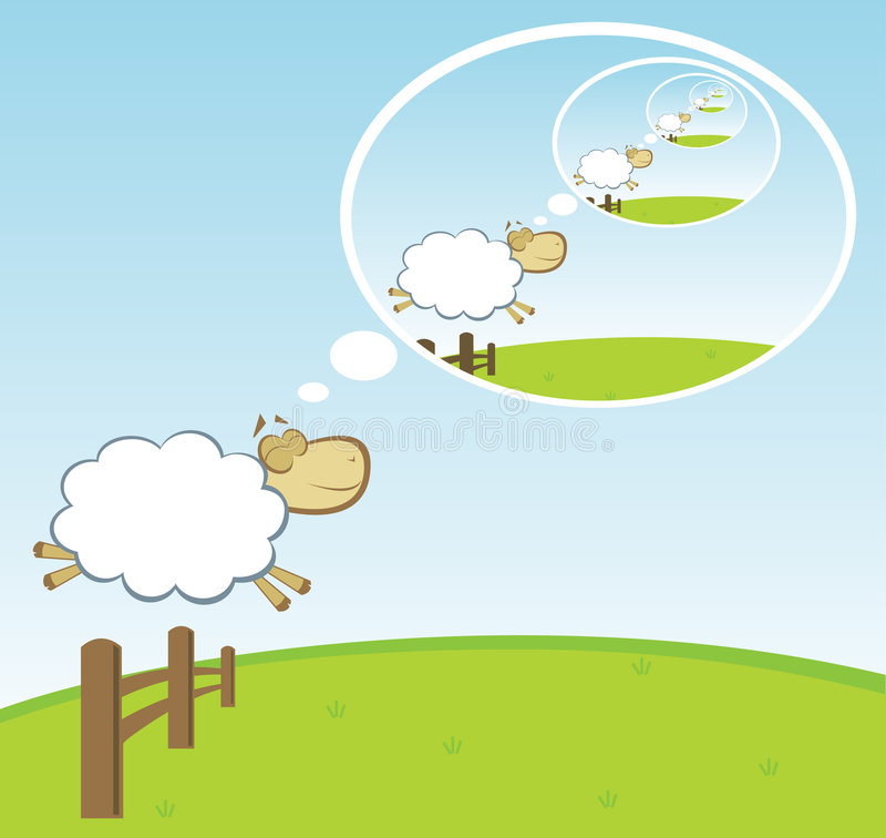 Shep perpetual dream. Sheep jumping fence dreaming about another sheep jumping a fence. perpetual dream stock illustration
