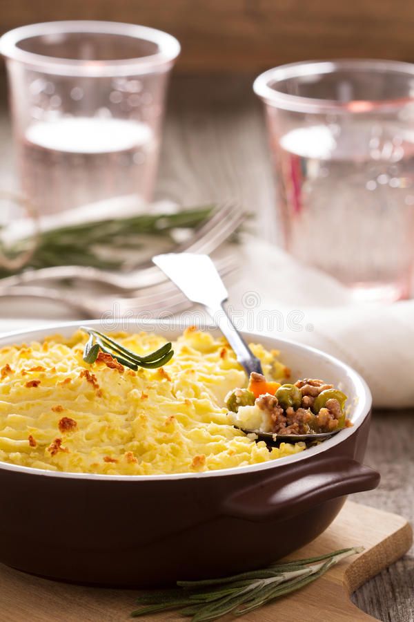 Sheperd's pie. (baked mashed potatoes and ground beef with vegetables royalty free stock photo