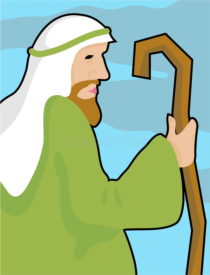 Shepherd. With a crooked staff royalty free illustration