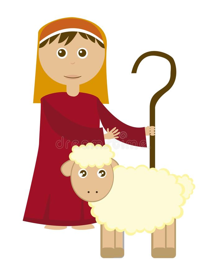 Shepherd boy. With sheep isolated over white background. vector stock illustration