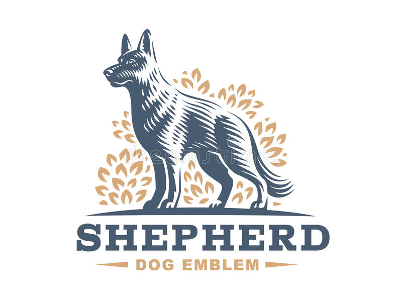 Shepherd dog logo - vector illustration vector illustration