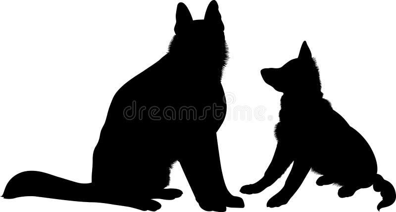 Shepherd Dogs. German Shepherd dog breed vector stock illustration