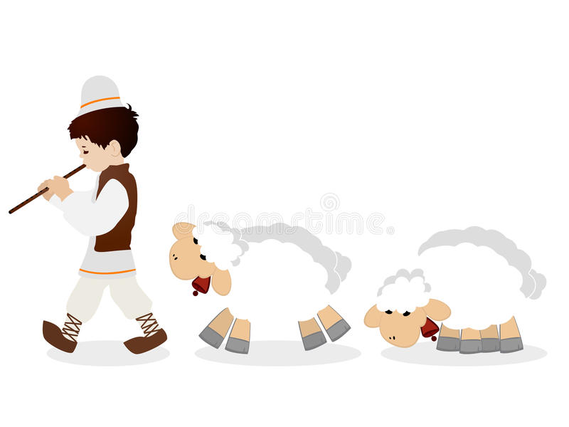 Shepherd and flock. Little shepherd in traditional clothes plying flute and his flock of sheep, isolated objects over white background vector illustration