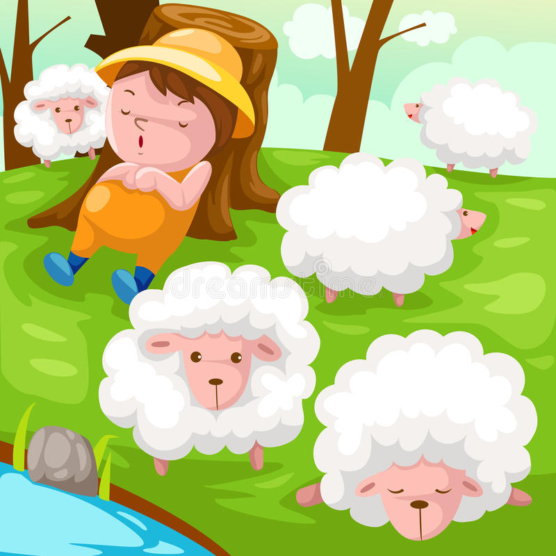 Shepherd with flock of sheep. Illuatration of landscape shepherd with flock of sheep royalty free illustration