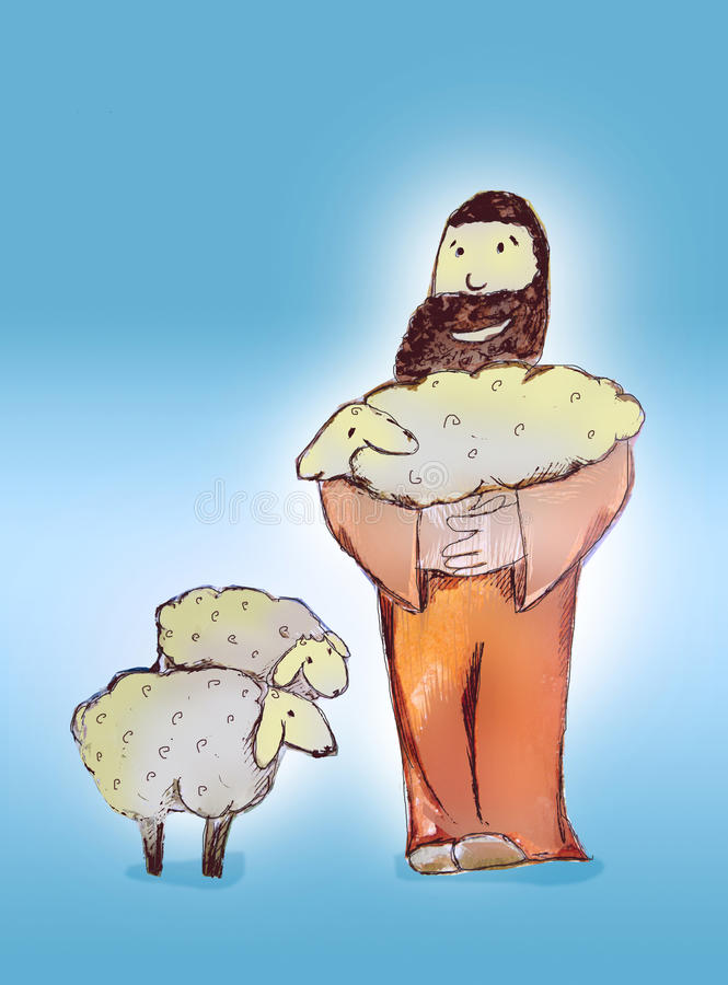 Shepherd found lost sheep. God is a good shepherd, He cares about us always looking for one who is lost and is joyful when saves a soul royalty free illustration