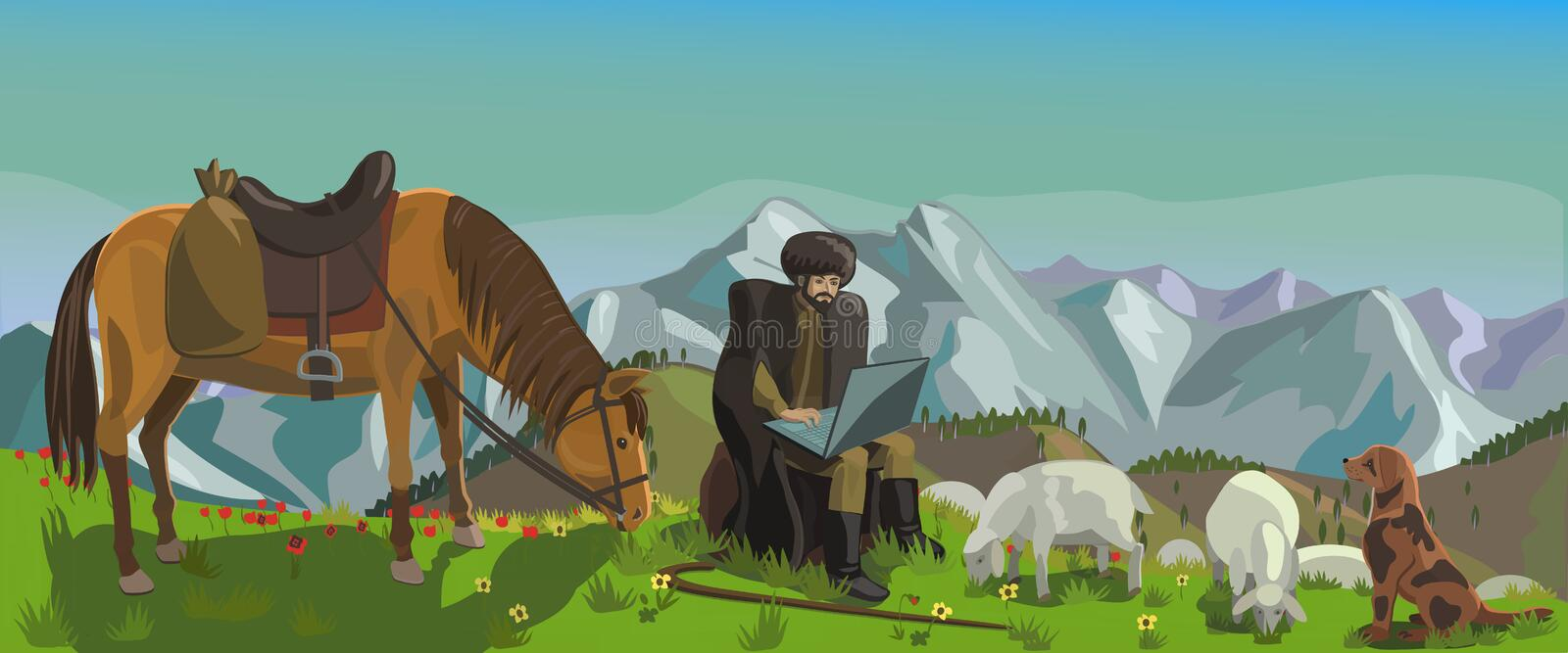 Shepherd, grazing sheep rewritten on the Internet. A shepherd herds sheep in the mountains and sits on a rock and through a laptop corresponds on the Internet royalty free illustration