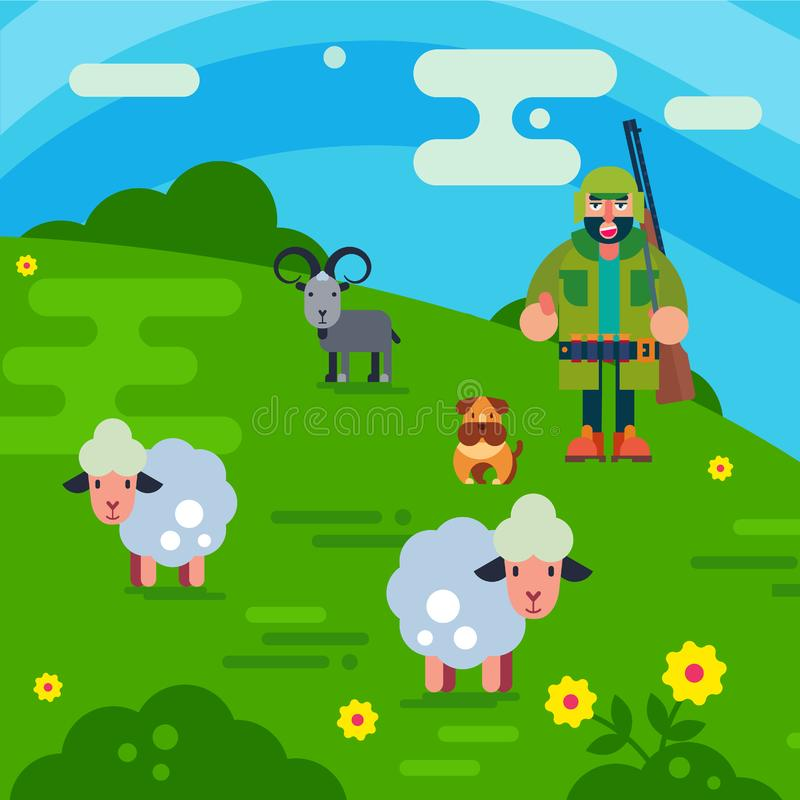 Shepherd with gun and dog herding flock of white sheeps cartoon vector illustration. Man breeding sheep wool. Field. Shepherd with gun and dog herding flock of royalty free illustration