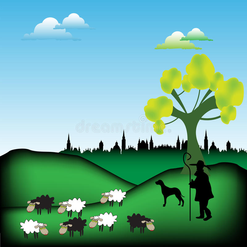 Shepherd with his flock. Colorful background with a shepherd and his dog guarding a flock of sheep stock illustration