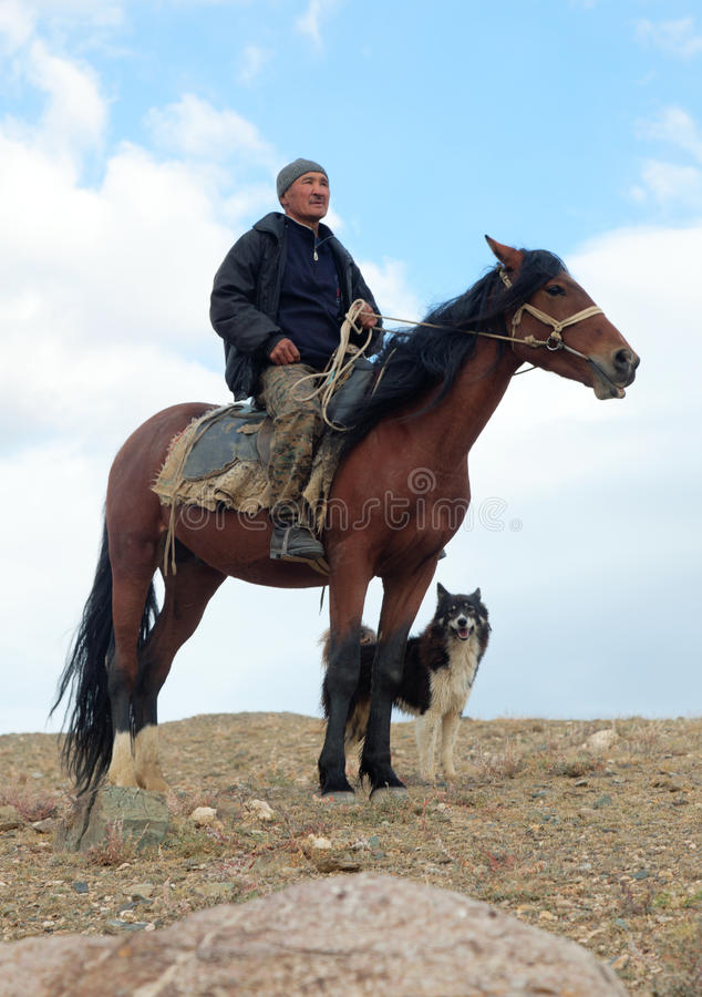 Shepherd and his horse royalty free stock photo