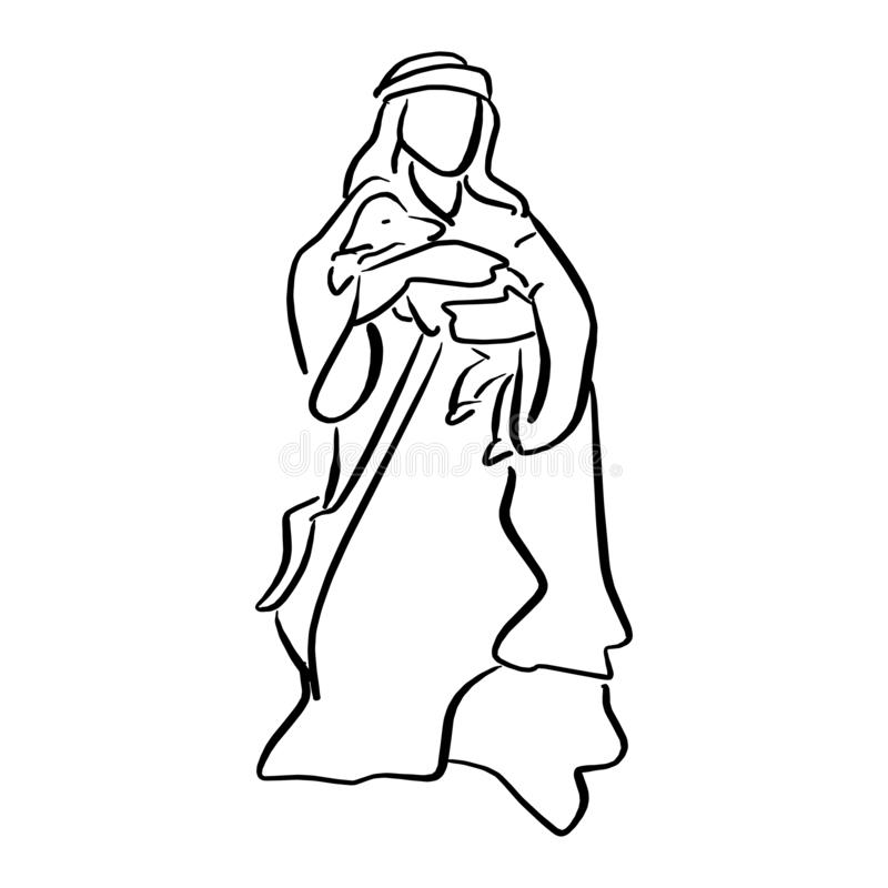 Shepherd holding a sheep in nativity scene vector illustration s. Ketch doodle hand drawn with black lines isolated on white background stock illustration