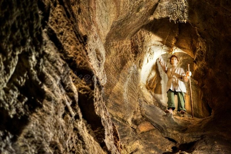Shepherd. KonÄ›prusy Caves are the longest cave system in Bohemia. It is an extensive three-storey cave system in Devonian limestones with a height difference royalty free stock images