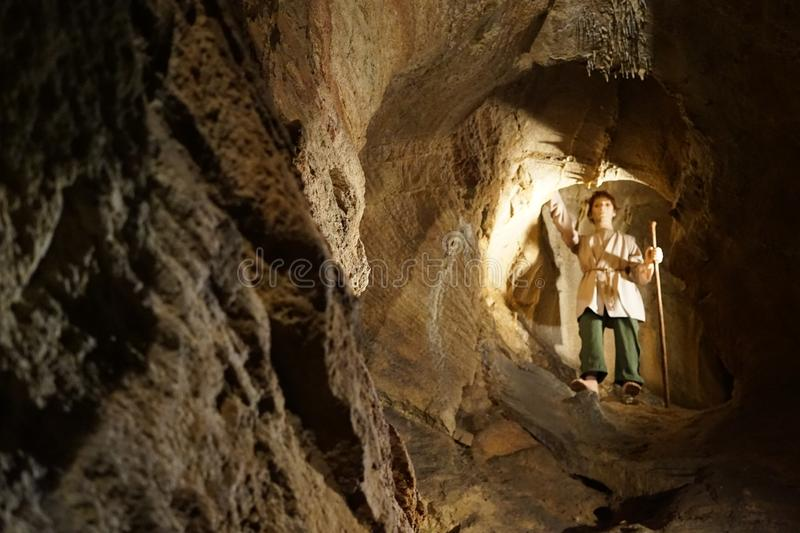 Shepherd. KonÄ›prusy Caves are the longest cave system in Bohemia. It is an extensive three-storey cave system in Devonian limestones with a height difference stock photos