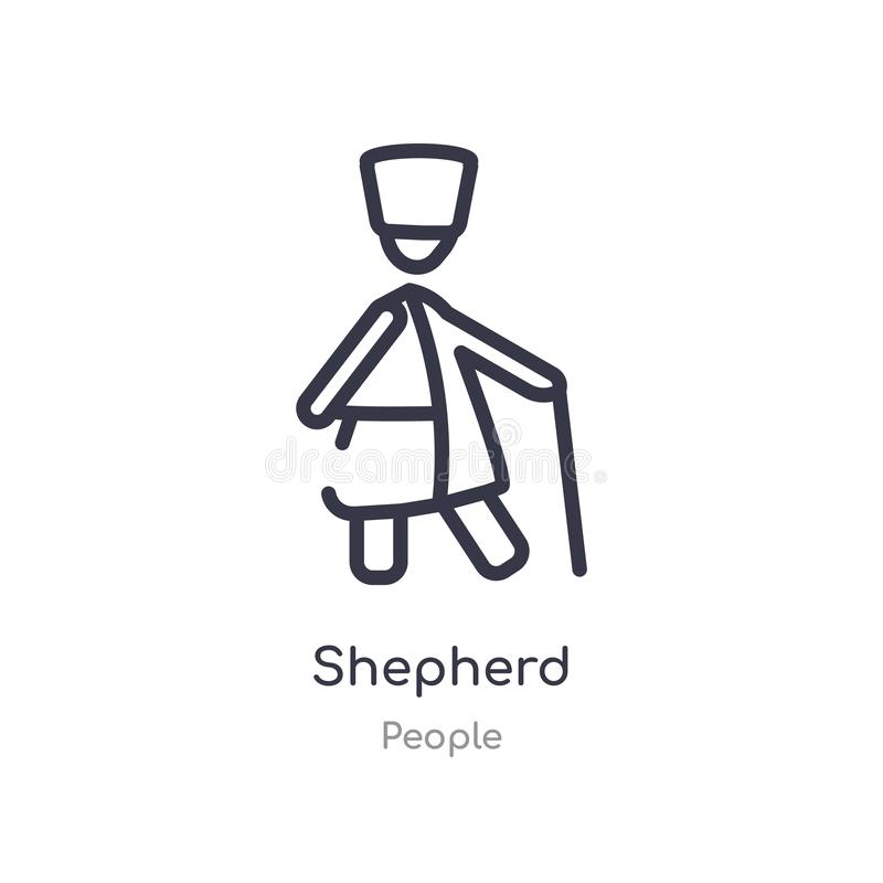 shepherd outline icon. isolated line vector illustration from people collection. editable thin stroke shepherd icon on white stock illustration