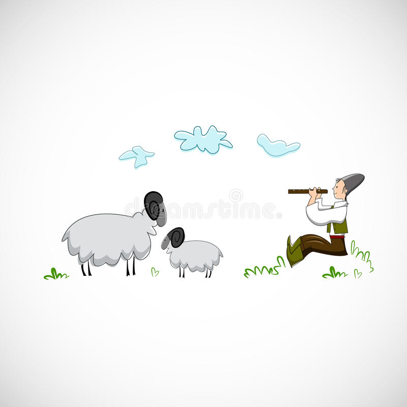 Shepherd plays the flute for sheep. Vector design.  royalty free illustration