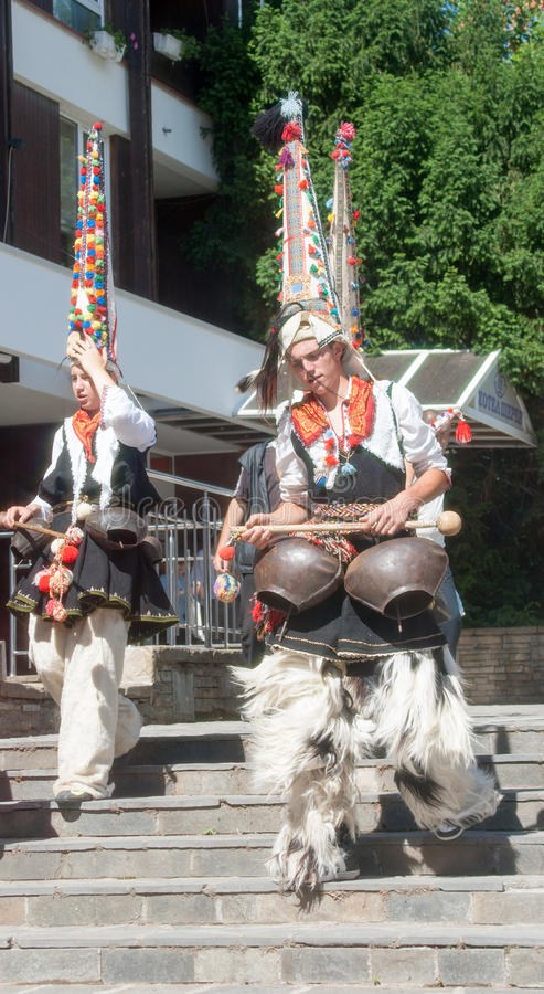 Shepherd ringers on folklore festival in Bulgaria royalty free stock photography
